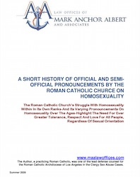 A Short History of Official and Semi-official Pronouncements by Theroman Catholic Church on Homosexuality